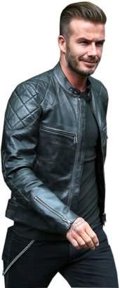 David Beckham Cuir Craft Mens Real Leather Jacket Vintage Slim Fit Genuine Leather