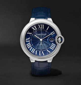 Cartier Ballon Bleu De Automatic 42mm Steel And Alligator Watch