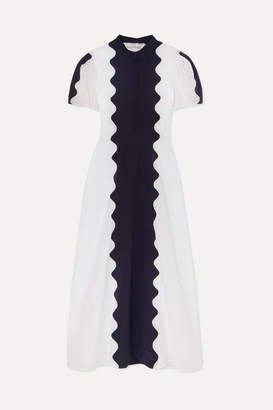 Valentino Paneled Broderie Anglaise Cotton-blend And Silk-crepe Midi Dress - White