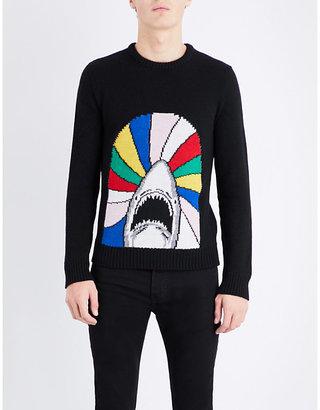 Saint Laurent Shark intarsia-knit wool jumper $680 thestylecure.com