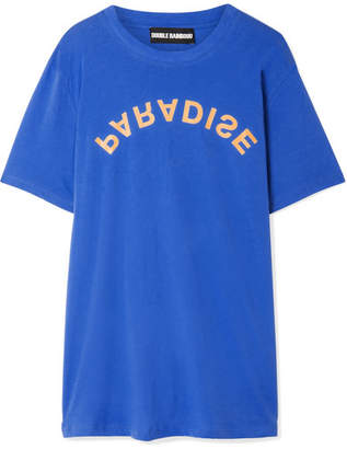 Double Rainbouu - Printed Cotton-jersey T-shirt - Bright blue