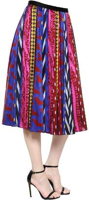 Abstract Striped Jacquard Midi Skirt