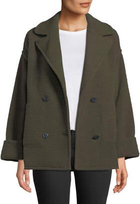 ATM Anthony Thomas Melillo Horizontal Boucle Double Knit Double-Breasted Boucle Pea Coat