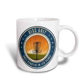3dRose Putt Plastic In Its Place #11 - silhouette of frisbee disc golf basket as the sun rises, Ceramic Mug, 15-ounce