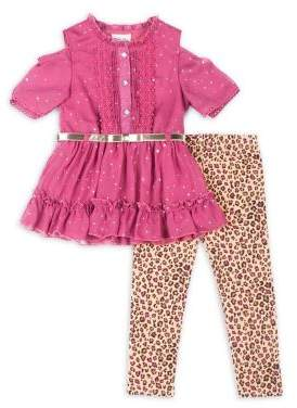 Little Lass Little Girl's Two-Piece Ruffled Top and Printed Leggings Set