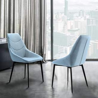 Marelana Sonny Contemporary Dining Chair in Matte Black Finish and Blue Fabric - Set of 2
