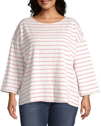 A.N.A Womens Boat Neck Long Sleeve T-Shirt Plus