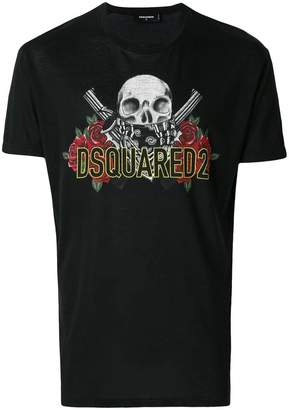 DSQUARED2 skull and rose logo print T-shirt