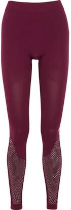 Adidas by Stella McCartney - Mesh-paneled Climalite Stretch Leggings - Burgundy $85 thestylecure.com