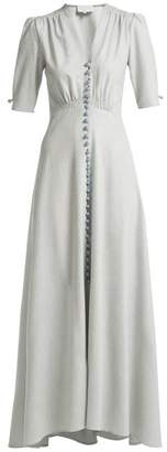 Luisa Beccaria Wool Blend V Neck Button Down Tea Gown - Womens - Blue