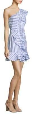 Parker O'Keeffe Cotton Striped One-Shoulder Dress