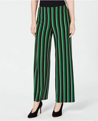 INC International Concepts I.n.c. Pull-On Striped Wide-Leg Pants
