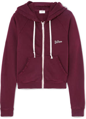 RE/DONE Embroidered Stretch-cotton Terry Hoodie - Burgundy