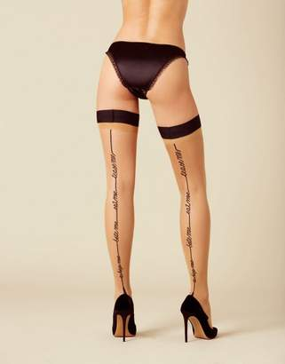 Agent Provocateur Tease Me Hold Up In Champagne With Black Quote Seam