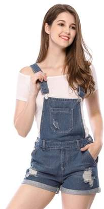 Unique Bargains Women's Denim Overalls Adjustable Strap Short Jumpsuit M