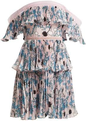 Self-Portrait Pleated off-the-shoulder floral-print mini dress