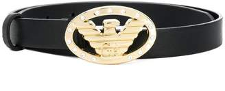 Emporio Armani encrusted logo buckle belt
