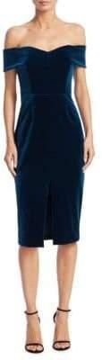 Nicholas Velvet& Lace Off-The-Shoulder Sheath Dress