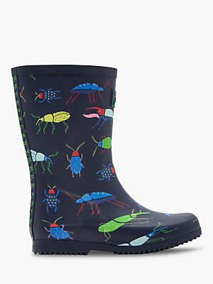 Joules Children's Roll Up Beetle Wellington Boots, Blue