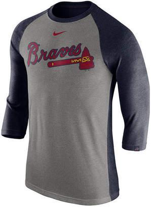 Nike Men's Atlanta Braves Tri-Blend Three-Quarter Raglan T-shirt
