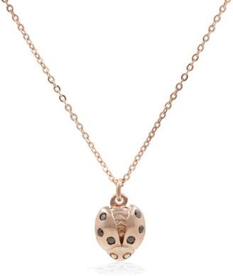 Lee Renee Ladybird Black Diamond Necklace (Wings Open) Rose Gold