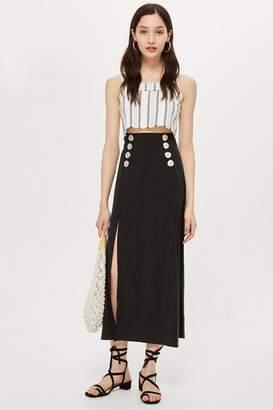 Topshop Button Splice Midi Skirt