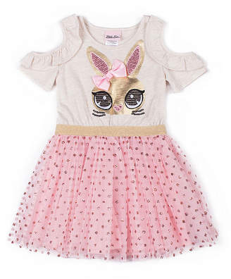 Little Lass Cold Shoulder Bunny Tutu Dress- Baby Girls