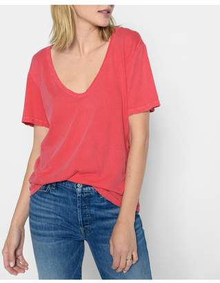 7 For All Mankind Curved Neck Tee In Faded Poppy