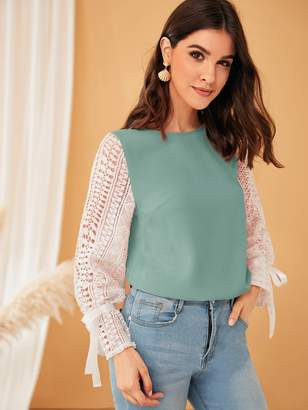 Shein Tie Cuff Contrast Guipure Lace Sleeve Top