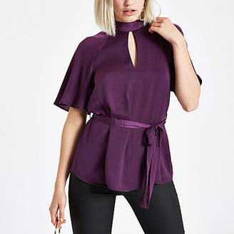 River Island Purple short sleeve tie front blouse