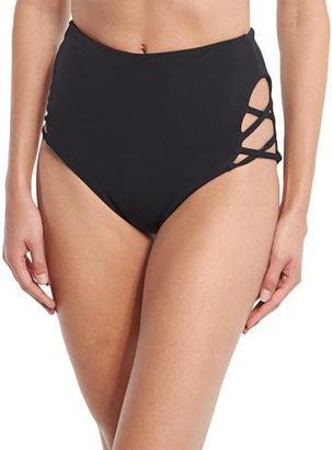 Mara Hoffman Crisscross High-Waist Swim Bottom, Black $115 thestylecure.com