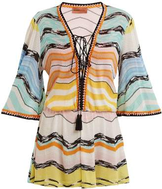 Missoni MARE Striped tie-front playsuit