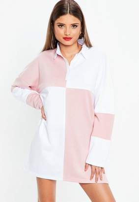 Missguided White Rugby Colorblock Shirt Dress