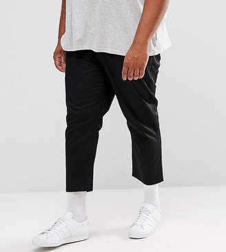Asos Plus Tapered Cropped Chinos In Black