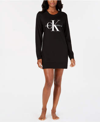 Calvin Klein Women's Monogram Lounge Long-Sleeve Nightshirt QS6152