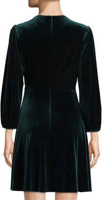 Tahari ASL Stretch Velvet Fit-and-Flare Wrap Dress