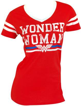 Bioworld DC Comics Wonder Woman Text Logo Varsity V-Neck T-Shirt S
