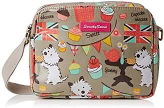 Biba SWANKYSWANS Womens Dog Cupcake 3 Pocket Cross-Body Bag Grey