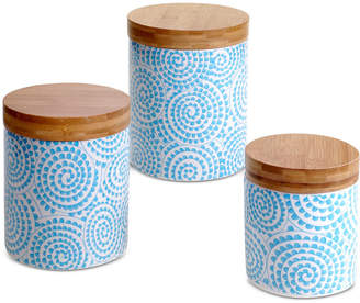 Certified International Set of 3 Chelsea Aqua Swirl Lidded Canisters Mix & Match Set