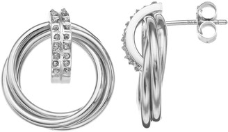 Mystique Diamond Sterling Silver Interlocking Doorknocker Post Earrings