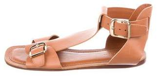 Celine Leather Square-Toe Sandals