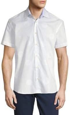 Hexagon Short-Sleeve Cotton Button-Down Shirt