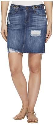 Liverpool Frey Edge Skirt with Distress in a Classic Soft Rigid Denim in Primrose Shred Women's Skirt