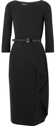 Michael Kors Origami Belted Draped Wool-blend Crepe Dress - Black