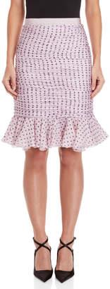 Giambattista Valli Polka Dot Ruched Pencil Skirt