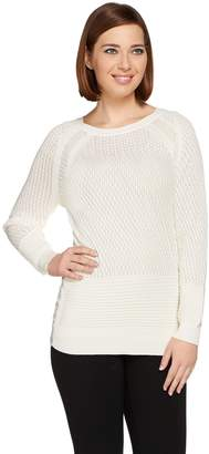 Halston H By H by Pointelle Pullover Sweater with Chiffon Insets