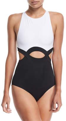 OYE Swimwear Elvan High-Neck Cutout One-Piece Swimsuit