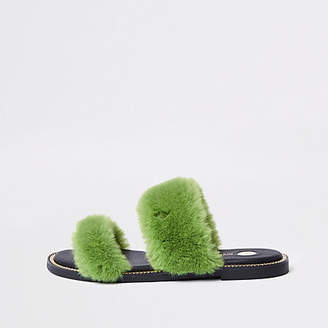 River Island Green faux fur chain trim sandals