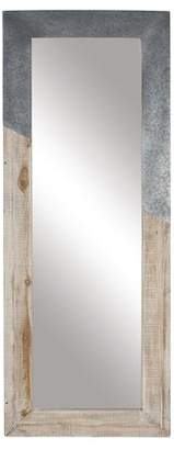 BEIGE DecMode Decmode Rustic Wood And Metal Rectangular Framed Full Glass Wall Mirror,