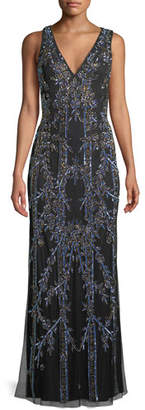 Aidan Mattox Long V-Neck Gown w/ Art Deco Beading